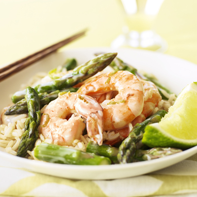 Green curry lime shrimp with spring's favorite vegetables, asparagus.